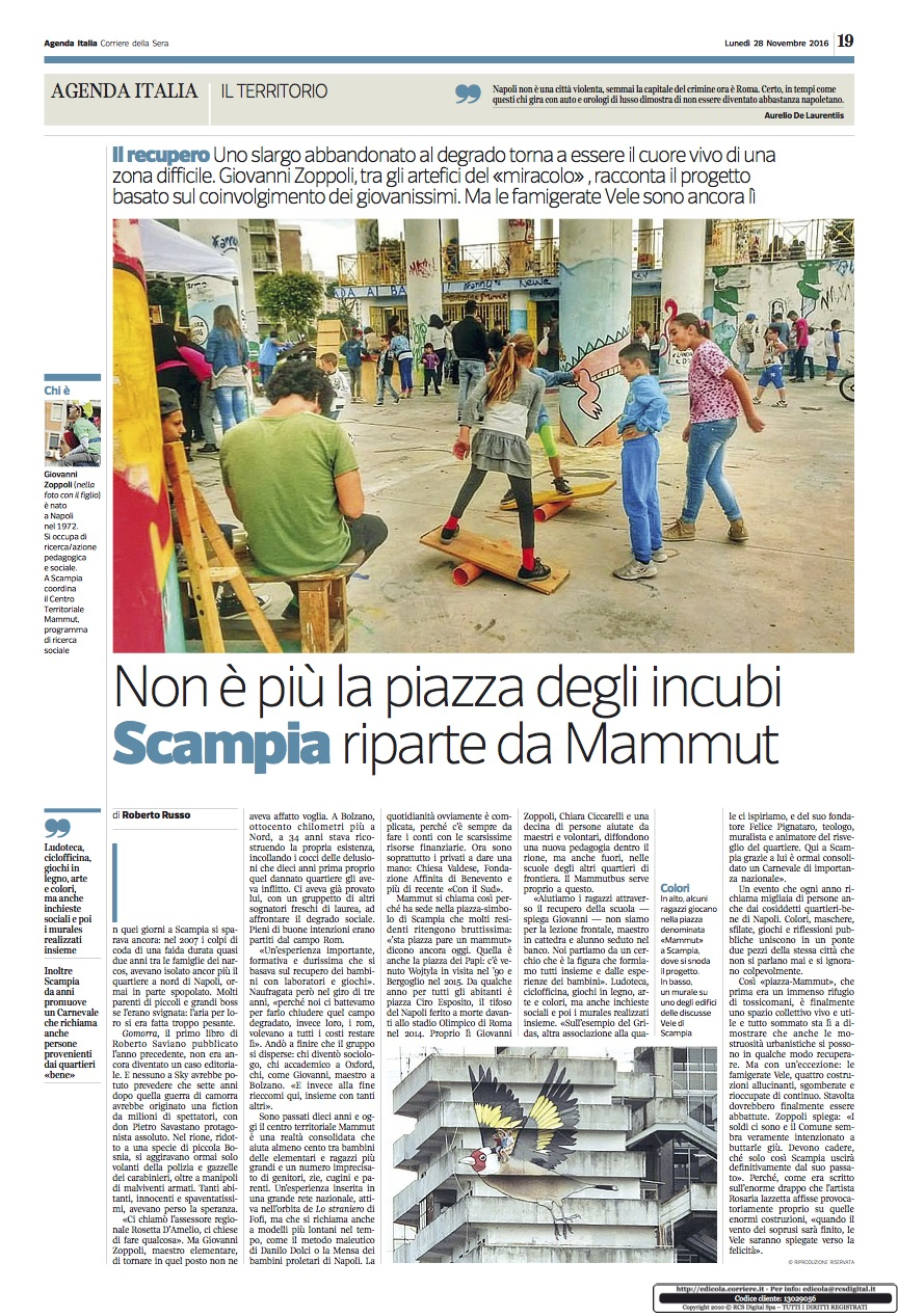 Centro Territoriale Mammut su Corriere della Sera - Fondazione Angelo Affinita
