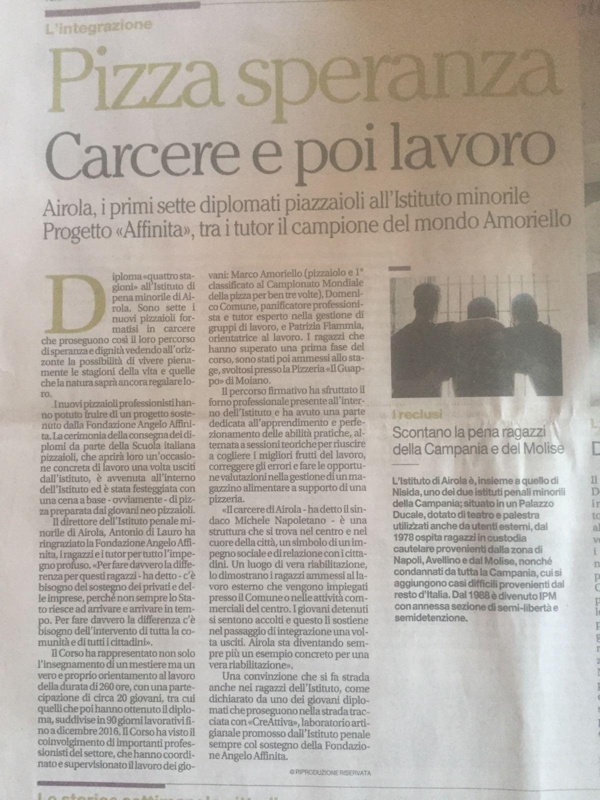 articolo-il-mattino-progetto-piazzaiolo-carcere-fondazione-angelo-affinita