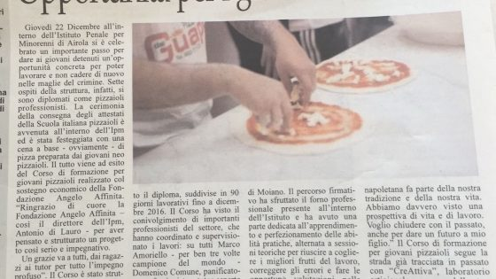 Su Il Sannio Quotidiano la premiazione dei giovani pizzaioli diplomati nell'Istituto Minorile Penitenziario di Airola - Fondazione Angelo Affinita