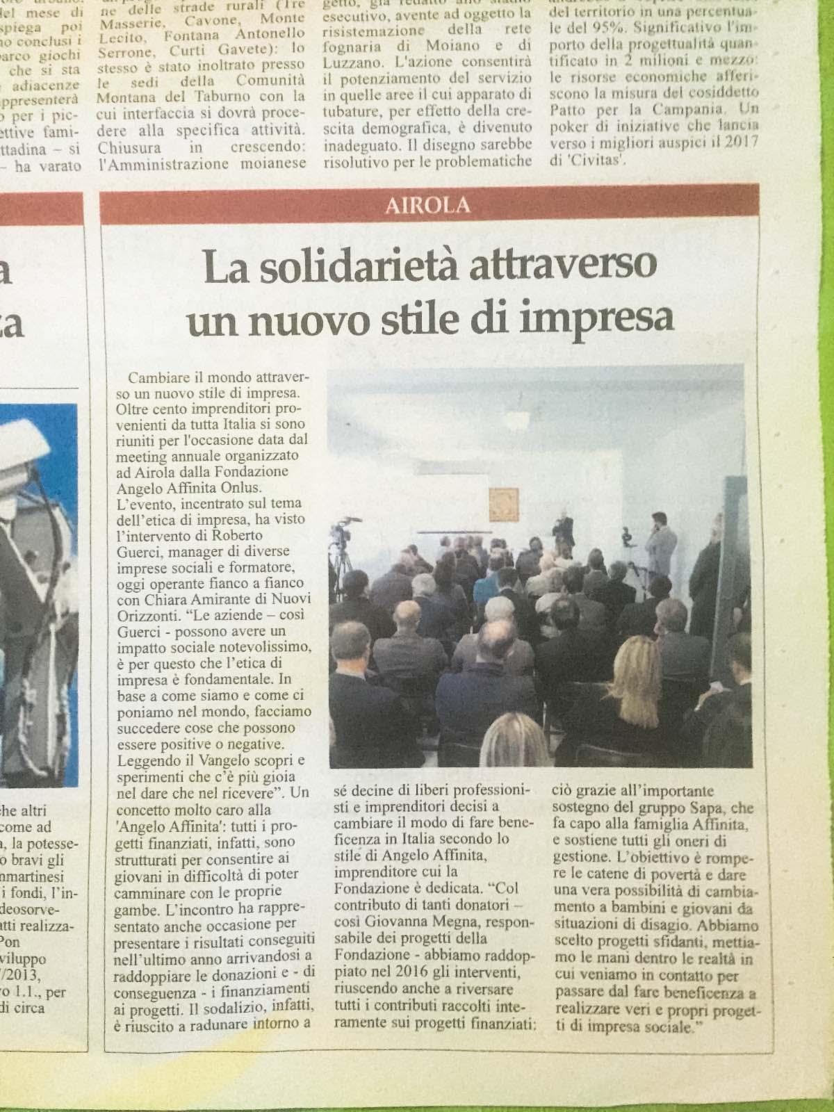 Sul Sannio il Meeting Fondazione Angelo Affinita 2016