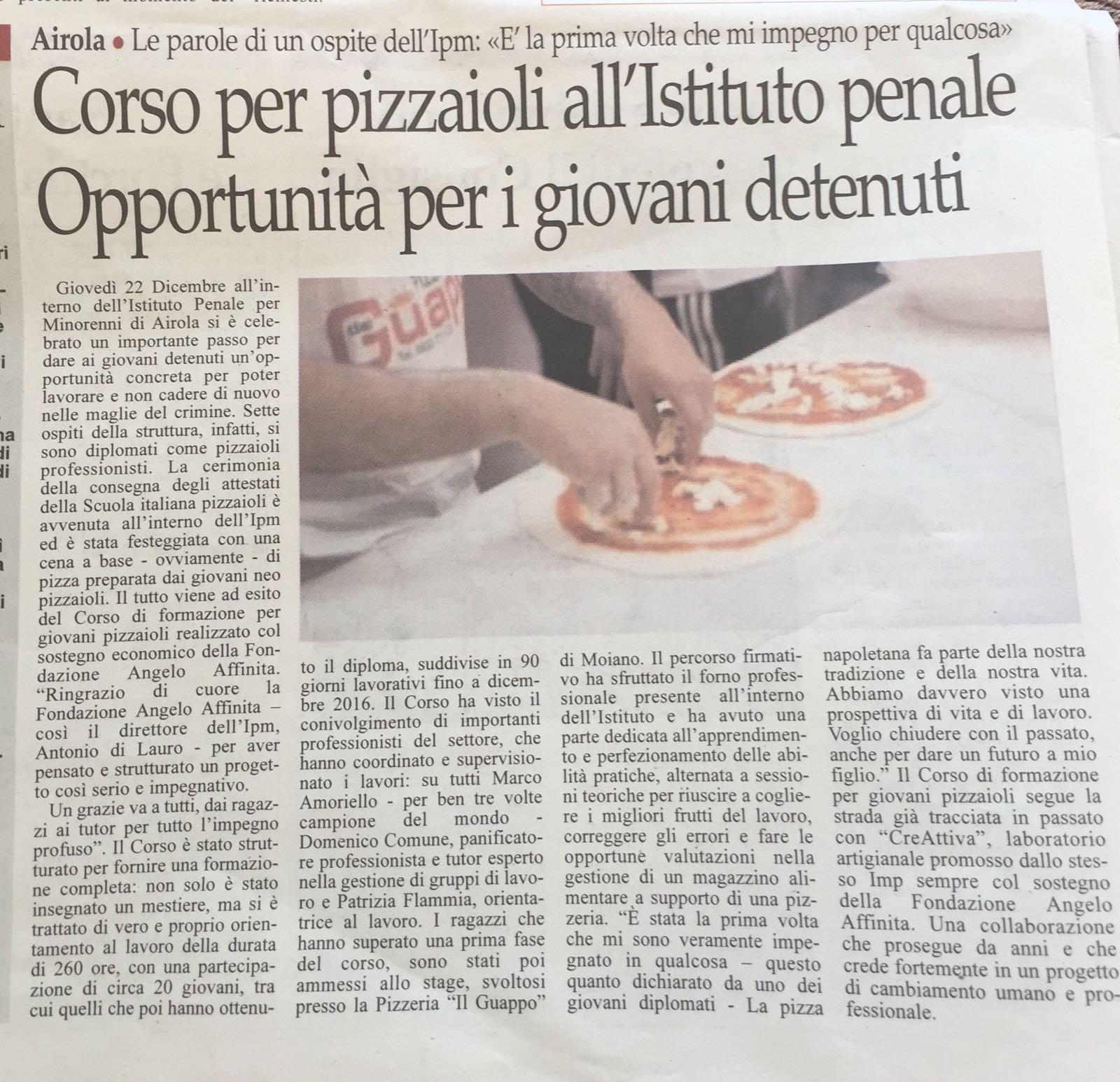 Su Il Sannio Quotidiano e su Il Mattino la premiazione dei giovani pizzaioli diplomati nell'Istituto Minorile Penitenziario di Airola