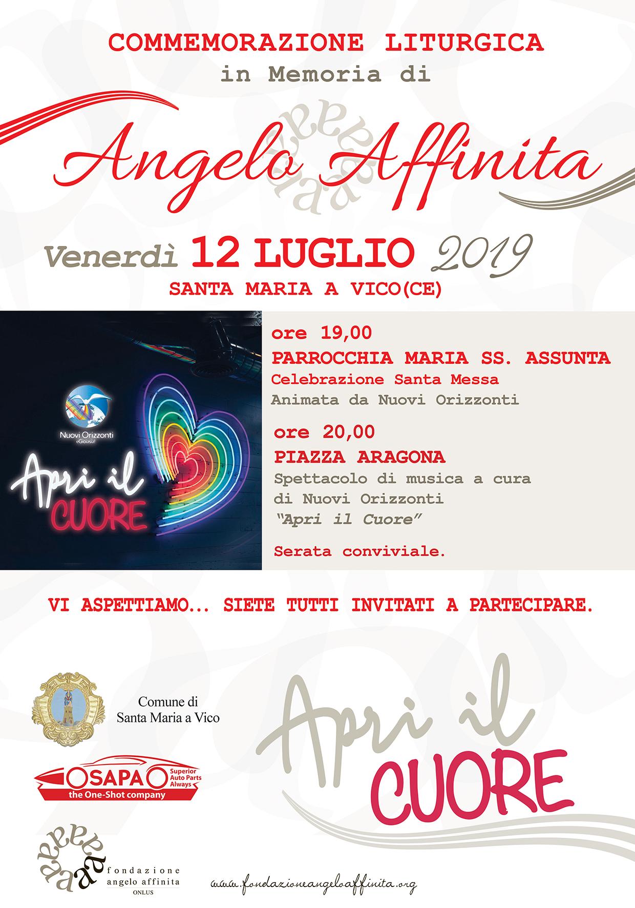 Apri il Cuore! Venerdì 12 luglio 2019 commemorazione liturgica in memoria di Angelo Affinita