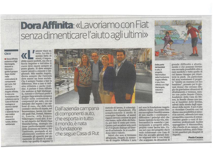 Intervista a Dora Affinita sul Corriere della Sera – 21 luglio 2016